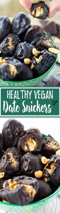 These peanut butter stuffed dates with chocolate are lightly salty, chewy, and incredibly sweet! Healthy vegan snickers with only four ingredients! Also use almond butter Vegan Treats, Vegan Foods, Heathy Treats, Sweet Recipes, Whole Food Recipes, Desserts Sains, Clean Eating Desserts, Healthy Eating, Eating Vegan