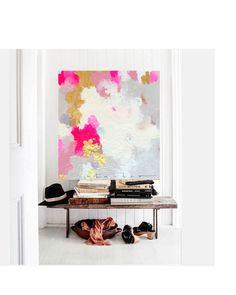 Large Canvas Art, Amanda Faubus Gold Leaf Original Painting, Abstract, pink, creme, white, grey, blue, Canvas Art, Urban, Loft, Boho Art