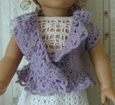 ABC Knitting Patterns - American Girl Doll Lacy Bolero- knitted with crocheted ruffle around neck and hem. American Girl Outfits, American Doll Clothes, American Girls, Crochet Doll Clothes, Knitted Dolls, Doll Clothes Patterns, Crochet Dolls, Doll Patterns, Sewing Patterns