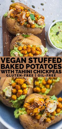 Vegan stuffed baked potatoes with tahini chickpeas sautéd mushrooms and an avocado sauce! This healthy recipe is great for dinner meal prep or even as a side dish for parties. Gluten-free oil-free and super easy. Vegan Lunch Recipes, Best Gluten Free Recipes, Healthy Meal Prep, Vegan Dinners, Whole Food Recipes, Healthy Recipes, Vegan Baked Potato, Baked Potato Recipes, Healthy Baked Potatoes