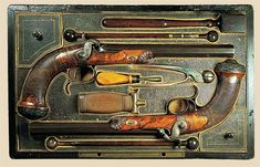 19th Century dueling pistols with a particularly fine case