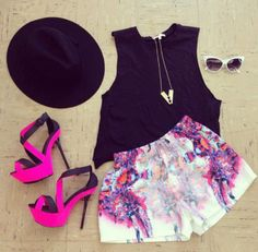 Shorts: clothes, celebrity style, hat, hipster, neon, pink, summer outfits, high heels, shoes, jewels, blouse, haute & rebellious, floral shorts, floral, tank top, colorful, purple, white, pink shorts, patterned shorts, high waisted shorts, black, colorfu girly outfit, #jewelry, girly style
