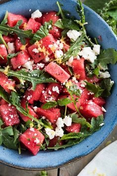 Watermelon Salad with Arugula Feta & Fresh Herbs with Watermelon Olive Oil Lemon Lemon Juice Fresh Mint Feta Cheese Arugula Freshly Ground Black Pepper Kosher Salt. Herb Recipes, Cooking Recipes, Thai Cooking, Cooking Cake, Cooking Turkey, Mushroom Recipes, Cooking Tools, Cooking Classes, Pasta Recipes