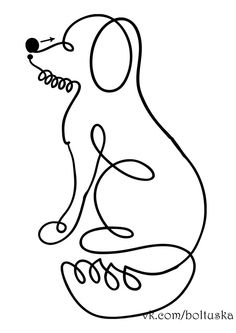Dog, or with different ears, a fox. Longarm Quilting, Free Motion Quilting, Hand Quilting, Drawing For Kids, Art For Kids, Single Line Drawing, Nail Polish Crafts, Simple Cartoon, Machine Quilting Designs