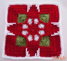 Holiday Ornament Square von Julie Yeager - Block 24 in der Moogly 2014 Afghan CAL . Crochet Afghans, Moogly Crochet, Crochet Squares Afghan, Crochet Square Patterns, Crochet Motifs, Crochet Blocks, Crochet Granny, Crochet Designs, Crochet Stitches