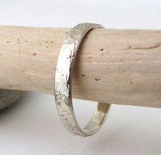 White Gold Wedding Band Mens Wedding Ring Hammered by GoldSmack