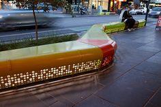Chapel Street | Melbourne, Australia | Hansen Partnership #seat #bench #metal #perforated #punched #light #night #street #urban