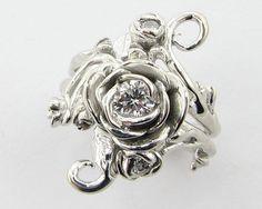 Beautiful -- Rose Coronet Wedding Set IV Diamond and White by wexfordjewelers, $3176.00