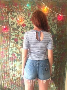 90s / vtg / Striped Top / tee / blue / open by CrusaderVintage
