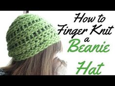 HOW TO FINGER KNIT A BEANIE HAT - FULL TUTORIAL - YouTube
