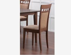 2 PC Casual Walnut Wood Dining Chairs Fabric Seat Back 101773