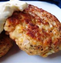 Potato Salmon Patties Mmmm I'll chop & change the recipe a little bit! Sounds delish..