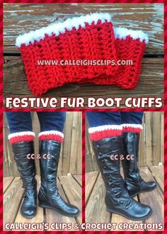 Festive Fur Boot Cuffs - Work up a last minute stocking stuff for your secret Santa. This free crochet pattern is easy to work up and oh, so festive.