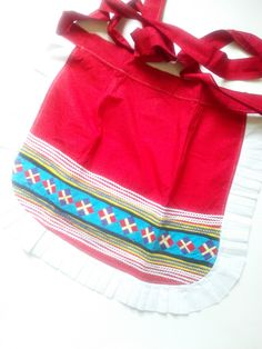 Vintage 70's Red & Ruffle Ethnic Kitchen Apron / Vintage 1/2 Apron / MINT CONDITION / South American by JulesCristenVintage on Etsy