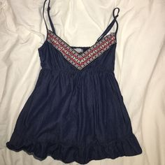 Spaghetti strap v neck Aztec top Lightly worn, tight at top, flowy at bottom, runs small, fits nicer on smaller chested girls (or guys ) dELiAs Tops Tank Tops