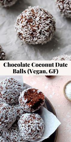 Date Recipes Healthy, Healthy Vegan Desserts, Vegan Snacks, Easy Snacks, Healthy Baking, Easy Vegan Recipes Dessert, No Bake Desserts, Healthy No Bake, Coconut Recipes Healthy