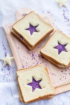 Purple star sparkling fairy bread tea sandwiches with #Sprinkles.#party #sandwich #kids