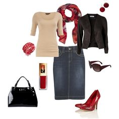 Sexy/Sophisticated Jean Skirt Outfit:  Black jacket/beige top/red stilettos, bracelet & scarf