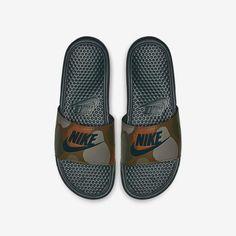 Nike Benassi Just Do It Print Slide Sandal Mens Slide Sandals, Nike Sandals, Strap Sandals, Sneakers Nike, Nike Slides, Men Slides, Claquette Nike Benassi, Sock Shoes, Shoe Boots