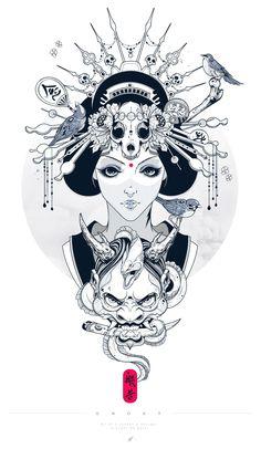Portrait Illustration Hannya - Wisdom gained through meditation. Geisha Tattoos, Geisha Tattoo Design, Samurai Tattoo, Samurai Art, Hannya Tattoo, Geisha Art, Geisha Drawing, Japanese Tattoo Art, Geniale Tattoos