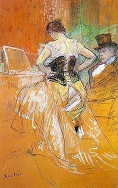 Henri De Toulouse-Lautrec-- he did the famous Moulin Rouge Poster (which I have an old print from the of, in my dining room! Henri De Toulouse Lautrec, Life Drawing, Figure Drawing, Renoir, Oil Painting Reproductions, William Morris, French Artists, Belle Epoque, Poster