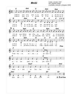 noty - svěrák a uhlíř - z pohádek - Hledat Googlem Music Sheets, Sheet Music, Ukulele, Chart Songs