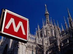 Metro Sign and Il Duomo, Milan, Italy Photographic Print