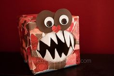 Cute idea for Valentine's Day - decorate a keenex box ans a Valentine Monster