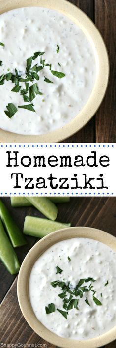 Homemade Tzatziki recipe - easy and healthy Greek dish that is a great dip, sauce, and on just about anything! The best! Made with Greek yogurt, cucumbers, dill, and a few other easy ingredients. SnappyGourmet.com