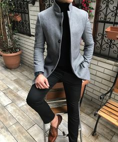 Tag a friend . Formal Men Outfit, Casual Outfits, Fashion Outfits, Slim Fit Casual Shirts, Men Casual, Double Breasted Suit Men, Knight Outfit, Designer Suits For Men, Mens Winter Coat