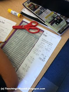 Students use the Scholastic Book Order Club form to practice with decimals