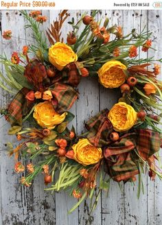 FALL SALE Fall Wreath for Door, Yellow Fall Leaf Wreath, Country Fall Door Wreath, Fall Flower Wreath, Berry Wreath by marigoldsdesigns on Etsy https://www.etsy.com/listing/250032644/fall-sale-fall-wreath-for-door-yellow
