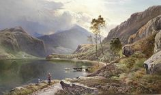Llyn-y-Ddinas, North Wales - Sidney Richard Percy (English painter) Albert Bierstadt, Catherine Klein, Alphonse Mucha, North Wales, Claude Monet, Watercolor Landscape, Landscape Paintings, Landscapes, Edward Moran