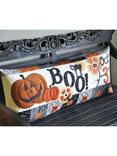 Halloween Boo Bench Sewing pattern featuring an adorable pillow to sew for Halloween pattern (aff link)