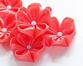 10 pieces kanzashi fabric flower appliques - embellishment - wholesale - coral color