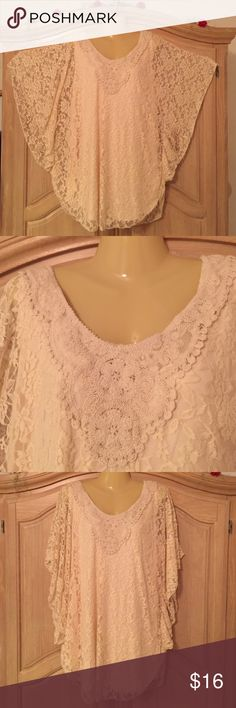 new lace blouse twi piece new lace blouse two piece ivory color size 20 lascish Tops Blouses