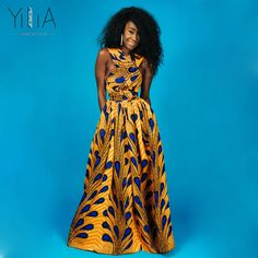 Yilia Popular Long Maxi Infinity Summer 2018 Women Dress Feather African  Print Clothing Casual Sexy A 25e23ae2fcf9