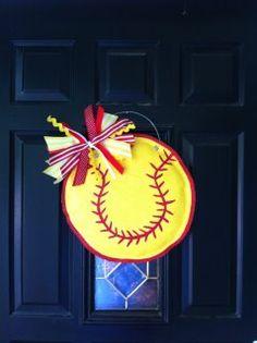 Softball burlap door hanger.