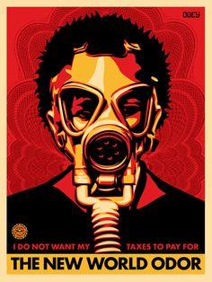 The New World Odor Gas Mask Propaganda Art printing wall poster Gas Mask, Propaganda Art, Andre The Giant, Fine Art, Shepard Fairy, Poster Art, Art, Street Art, Obey Art