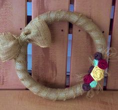 Burlap Wreath with Bow and Handmade Roses by RosemaryTwine on Etsy, $25.00