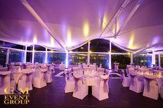 The Landing at Dockside - Purple Uplighting by G&M Event Group #EventLighting #UpLighting #WeddingLighting #Purple