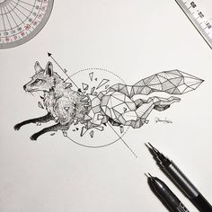 artist Kerby Rosanes an illustrator based in Manila Philippines. Kerby Rosanes uses ink primarily in their drawings. For more drawings ? Geometric Drawing, Geometric Shapes, Geometric Animal, Geometric Tattoo Animal, Beautiful Drawings, Cool Drawings, Stylo Art, Fuchs Illustration, Landscape Illustration