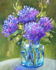 """Daily Paintworks - """"Backyard Blooms"""" - Original Fine Art for Sale - © Libby Anderson Hydrangea Painting, Lilac Painting, Unicorn Painting, Oil Painting On Canvas, Watercolor Paintings, Arte Floral, Pollock Paintings, Guache, Abstract Wall Art"""