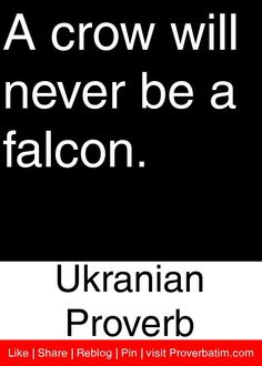 A crow will never be a falcon. - Ukranian Proverb #proverbs #quotes