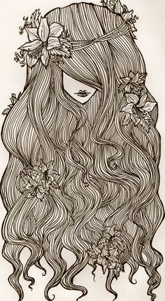 Flowers and curls, i was practicing hair :) #art #drawing