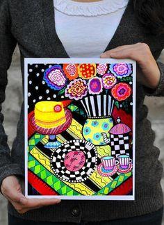 Cake Art Teapot Cupcakes Striped Vase Print by HeatherGallerArt,