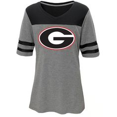 Juniors' Georgia Bulldogs Football Tee ($28) ❤ liked on Polyvore featuring tops, t-shirts, red, print t shirts, red jersey, graphic print t shirts, red top and elbow sleeve tee