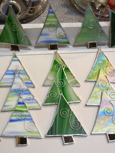 Stained Glass Christmas Tree Ornaments Teal and White by miloglass ...