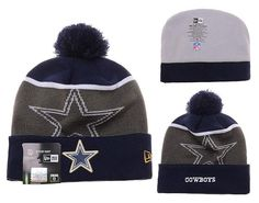 Mens   Womens Dallas Cowboys New Era NFL Gold Collection Team Color  LIQUIDCHROME Logo Cuff Knit Beanie Hat With Pom - Navy   Graphite 3efec26d3daa