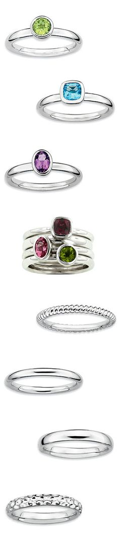 Silver Stackable Geometric Rings